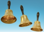 Illustration of three brass hand bells