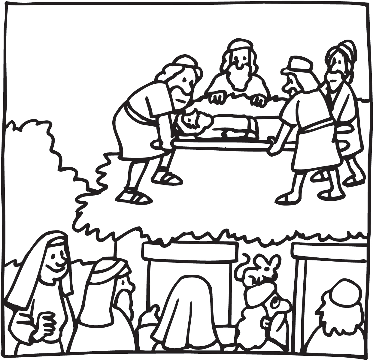Whose stretcher bearer are you hope united methodist for Jesus heals a paralytic coloring page