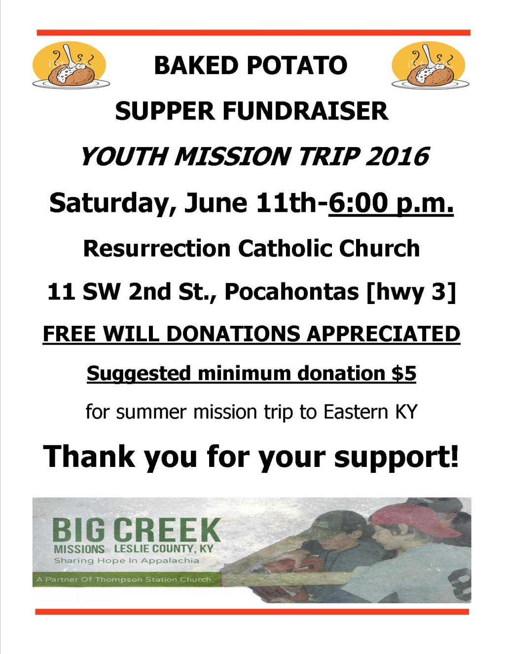 Mission Trip Baked Potato Supper Flyer